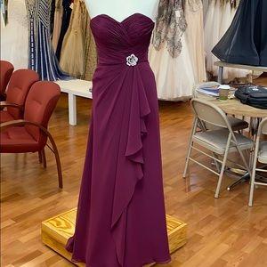 Sangria chiffon bridesmaid dress
